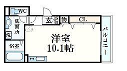 JR東海道・山陽本線 六甲道駅 徒歩8分の賃貸アパート 1階ワンルームの間取り