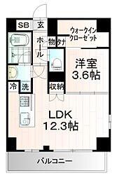 AXASレジデンス目黒東 13階1LDKの間取り