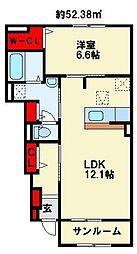 プレミアムガーデン II 1階1LDKの間取り