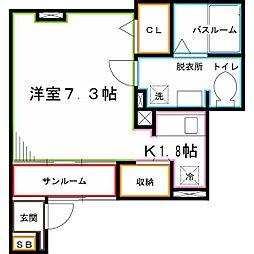JR中央本線 国分寺駅 徒歩13分の賃貸アパート 1階ワンルームの間取り