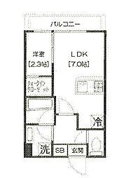 都営三田線 芝公園駅 徒歩2分の賃貸マンション 4階1DKの間取り