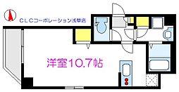 Dreamia上野御徒町 2階ワンルームの間取り