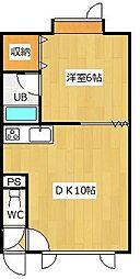 サウスプレイス 1階1DKの間取り
