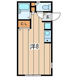 CASA北鎌倉 2階1Kの間取り
