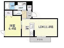 大阪モノレール本線 千里中央駅 徒歩10分の賃貸アパート 1階1LDKの間取り