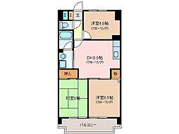 三重県松阪市末広町2丁目の賃貸マンションの間取り