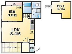 プライムコート 2階1SLDKの間取り