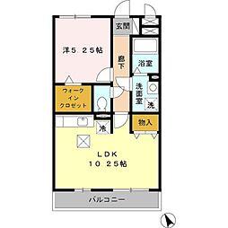 埼玉県熊谷市中西3丁目の賃貸アパートの間取り