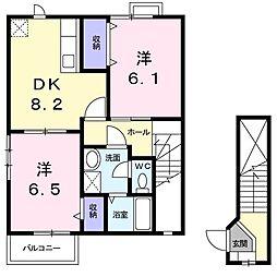 カーサ・ジラソーレII[2階]の間取り