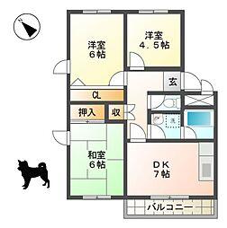 滋賀県東近江市中小路町の賃貸マンションの間取り
