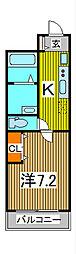 リブリ・六番館 2階1Kの間取り