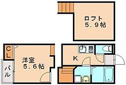 (仮)クレオ土井参番館[2階]の間取り