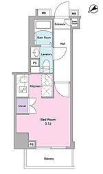 東急目黒線 武蔵小山駅 徒歩3分の賃貸マンション 4階ワンルームの間取り