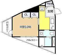 studio Kumegawa[5階]の間取り