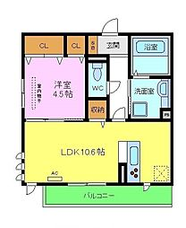仮称D-room北区百舌鳥本町 2階1LDKの間取り