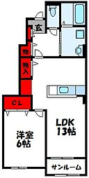 JR鹿児島本線 千鳥駅 徒歩11分の賃貸アパート 1階1LDKの間取り