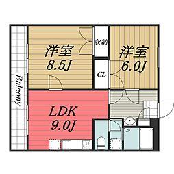 千葉県八街市富山の賃貸マンションの間取り