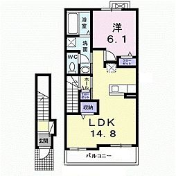 JR久大本線 田主丸駅 徒歩15分の賃貸アパート 2階1LDKの間取り