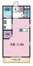 中川マンション 1階ワンルームの間取り
