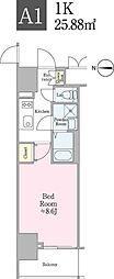 東京メトロ有楽町線 飯田橋駅 徒歩4分の賃貸マンション 4階1Kの間取り