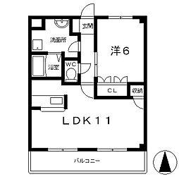 滋賀県栗東市小平井3丁目の賃貸マンションの間取り