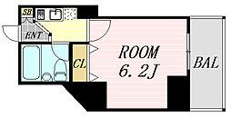 フレア新大阪 2階ワンルームの間取り