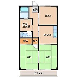 グリーンハイツ細川A棟 3階3DKの間取り