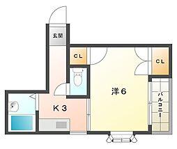 堂山ハイツB棟[4階]の間取り