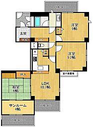 白鷹甲子園マンション[4階]の間取り