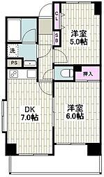 フェリックス新川崎 4階2DKの間取り