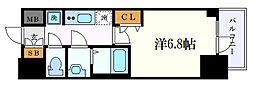 プレサンス名古屋幅下ファビュラス 14階1Kの間取り