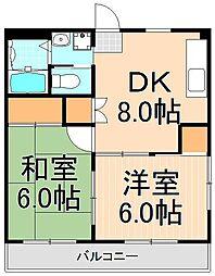 弘道高橋第二ハイツ[306号室]の間取り
