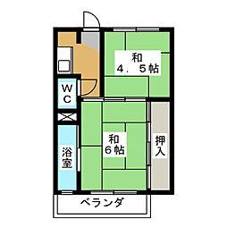 ビレッジハウス穂積 1号棟[1階]の間取り