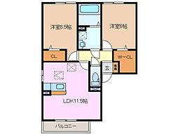 三重県四日市市笹川2丁目の賃貸アパートの間取り