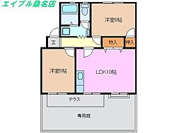 尾弓田ハイツ[1階]の間取り