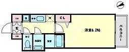 プレサンス難波インフィニティ 7階1Kの間取り
