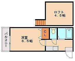 福岡県福岡市南区清水3丁目の賃貸アパートの間取り
