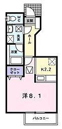 神奈川県横浜市港北区岸根町の賃貸アパートの間取り