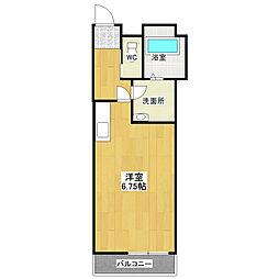 東武野田線 大和田駅 徒歩9分の賃貸アパート 2階ワンルームの間取り