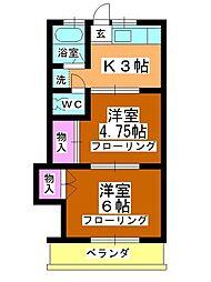 篠崎コーポ[205号室]の間取り