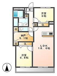 三旺マンション第2新栄[3階]の間取り