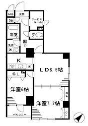 都営浅草線 人形町駅 徒歩12分の賃貸マンション 11階2SLDKの間取り