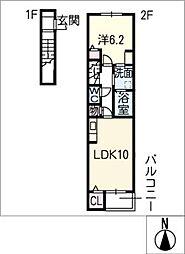 フルールSII 2階1LDKの間取り