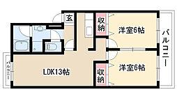 愛知県名古屋市緑区黒沢台4丁目の賃貸マンションの間取り