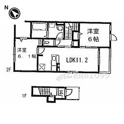 JR湖西線 堅田駅 徒歩27分の賃貸アパート 2階2LDKの間取り