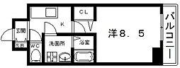 ララプレイス四天王寺前夕陽ヶ丘プルミエ 8階1Kの間取り