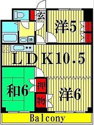竹ノ塚ロジュマン[503号室]の間取り
