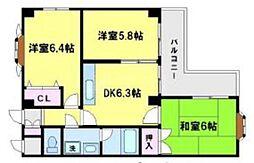 シェトワ桜川[7階]の間取り