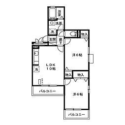 千葉県我孫子市天王台4丁目の賃貸アパートの間取り