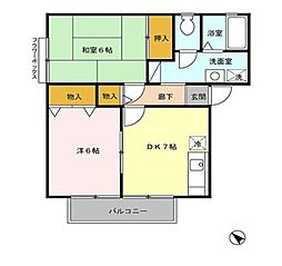 東京都あきる野市二宮東2丁目の賃貸アパートの間取り